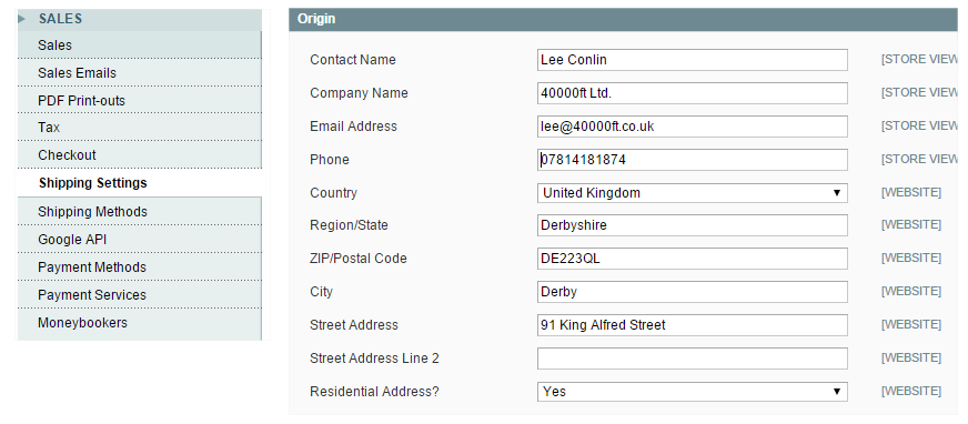 Settings for Magento parcel shipping