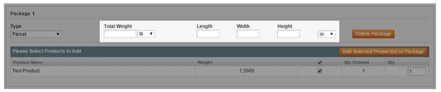 Weight and item dimensions for calculating shipping volumes